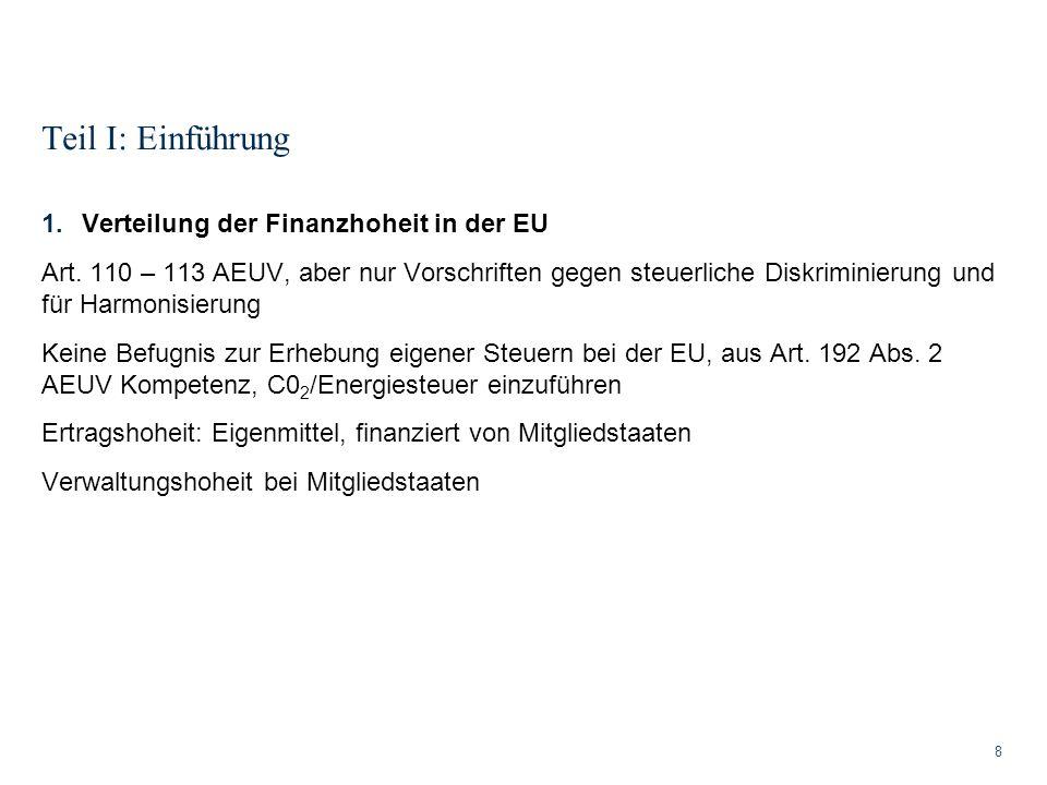 Teil I: Einführung Verteilung der Finanzhoheit in der EU