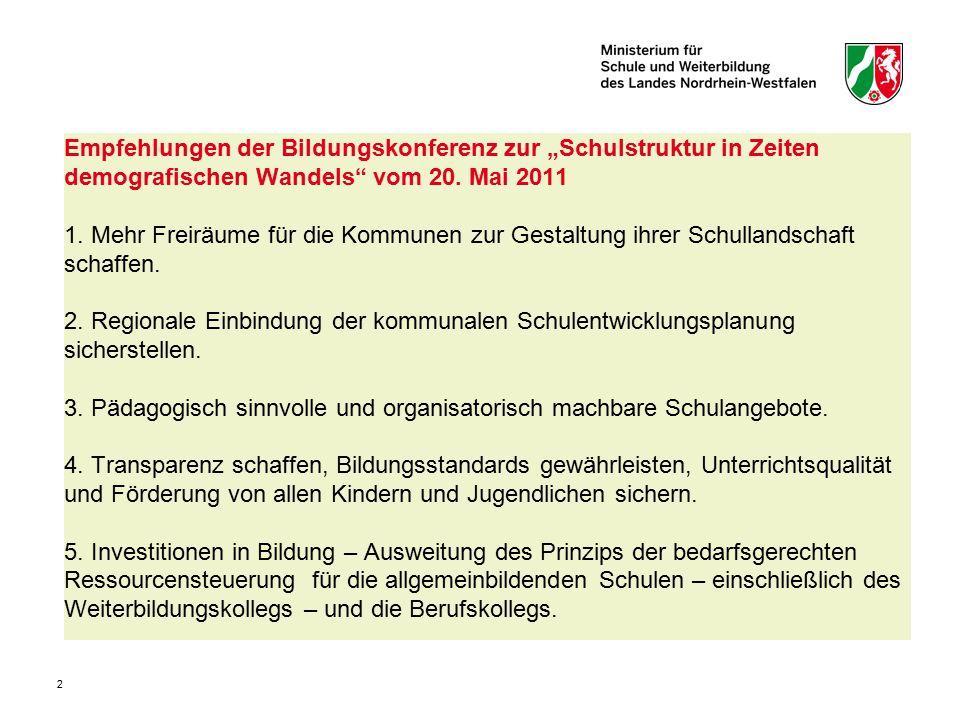 """Empfehlungen der Bildungskonferenz zur """"Schulstruktur in Zeiten demografischen Wandels vom 20."""