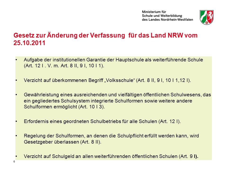 Gesetz zur Änderung der Verfassung für das Land NRW vom 25.10.2011