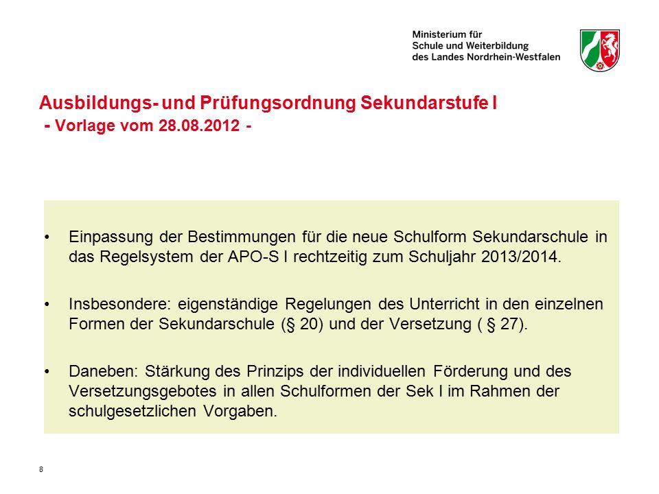 Ausbildungs- und Prüfungsordnung Sekundarstufe I - Vorlage vom 28. 08
