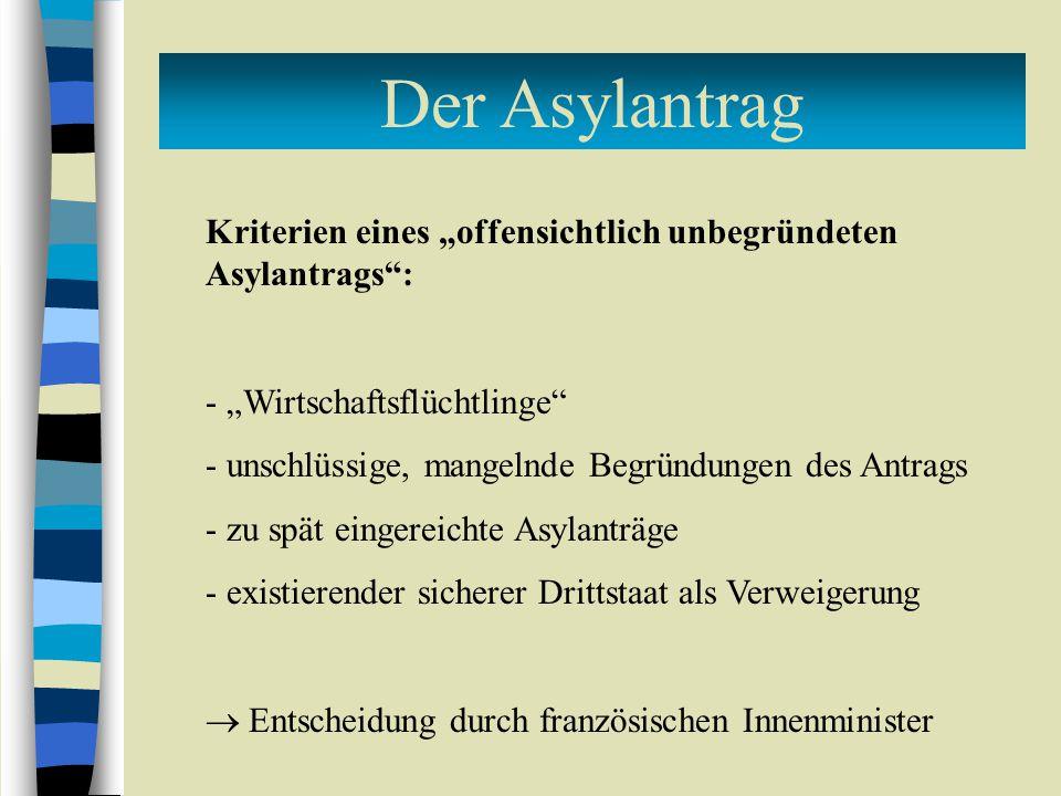 """Der Asylantrag Kriterien eines """"offensichtlich unbegründeten Asylantrags : """"Wirtschaftsflüchtlinge"""