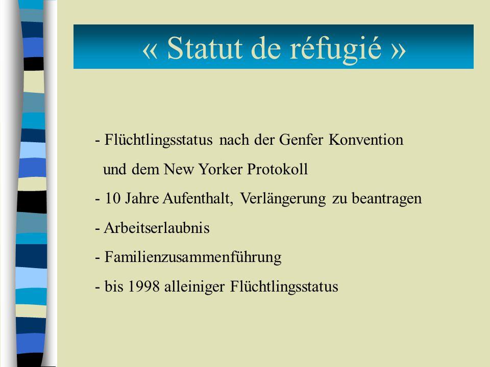 « Statut de réfugié » Flüchtlingsstatus nach der Genfer Konvention