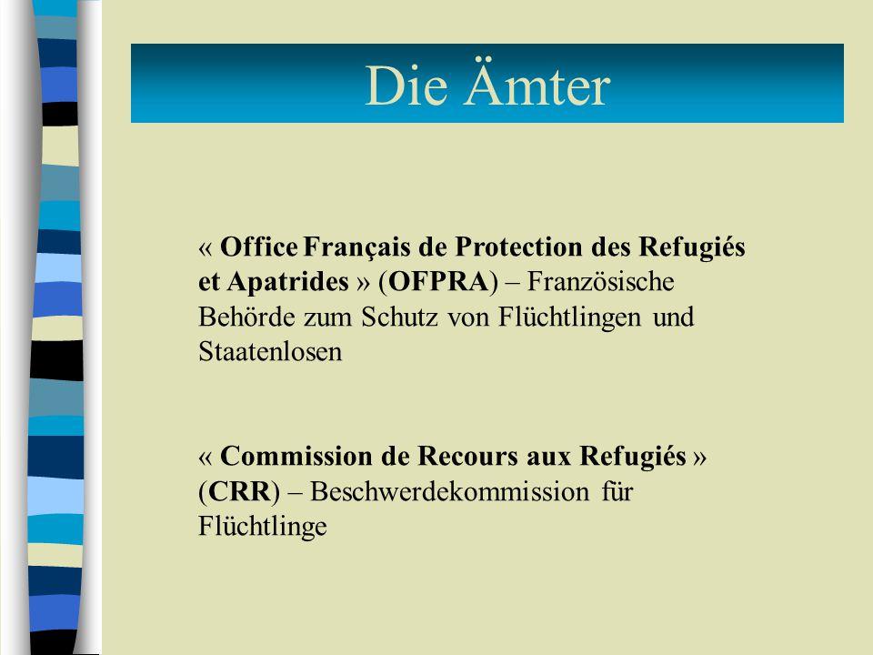Die Ämter « Office Français de Protection des Refugiés et Apatrides » (OFPRA) – Französische Behörde zum Schutz von Flüchtlingen und Staatenlosen.