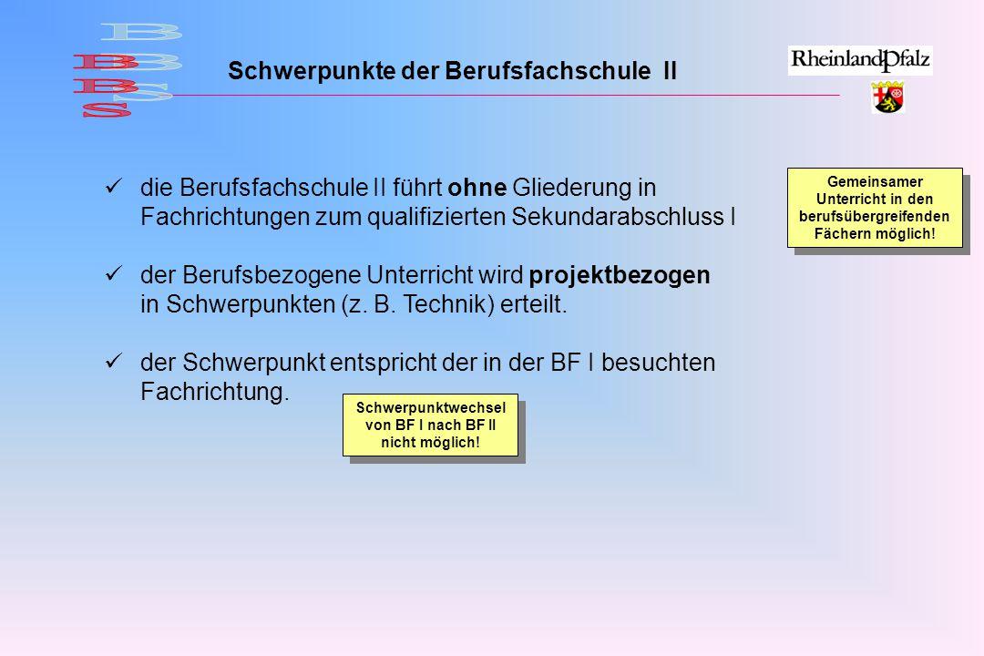 BBS Schwerpunkte der Berufsfachschule II