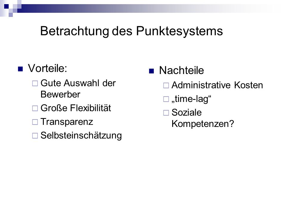 Betrachtung des Punktesystems
