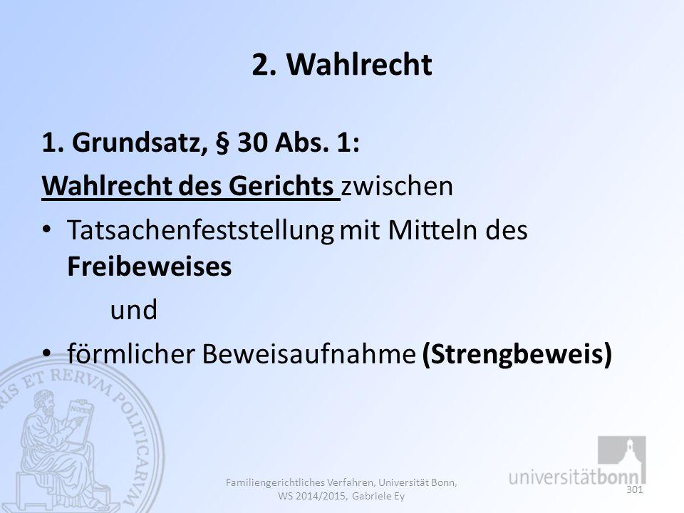 2. Wahlrecht 1. Grundsatz, § 30 Abs. 1: