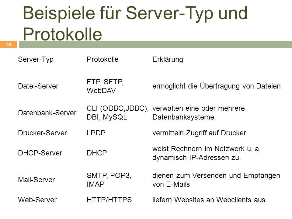Beispiele für Server-Typ und Protokolle