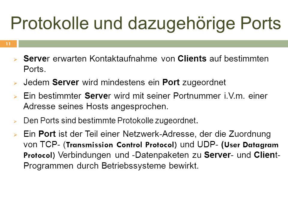 Protokolle und dazugehörige Ports