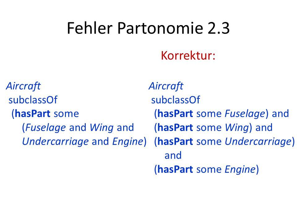 Fehler Partonomie 2.3 Korrektur: Aircraft subclassOf