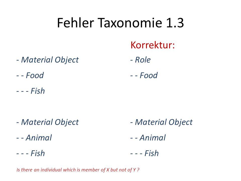 Fehler Taxonomie 1.3 Korrektur: - Material Object - - Food - - - Fish
