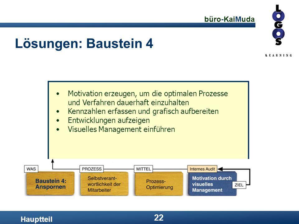 Lösungen: Baustein 4 Motivation erzeugen, um die optimalen Prozesse und Verfahren dauerhaft einzuhalten.