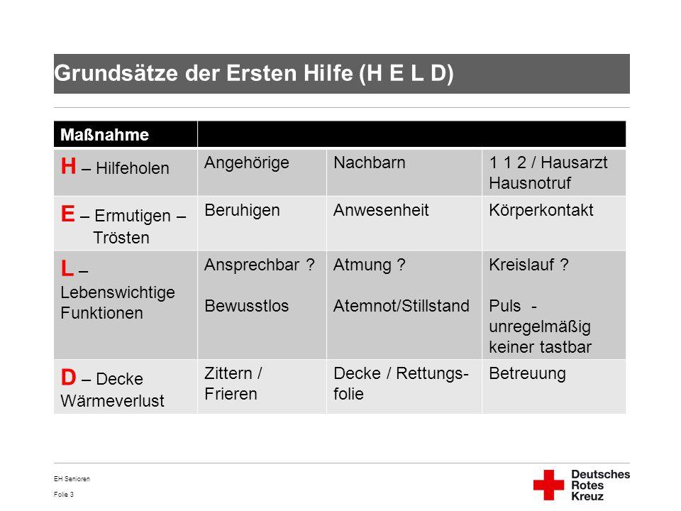 Grundsätze der Ersten Hilfe (H E L D)