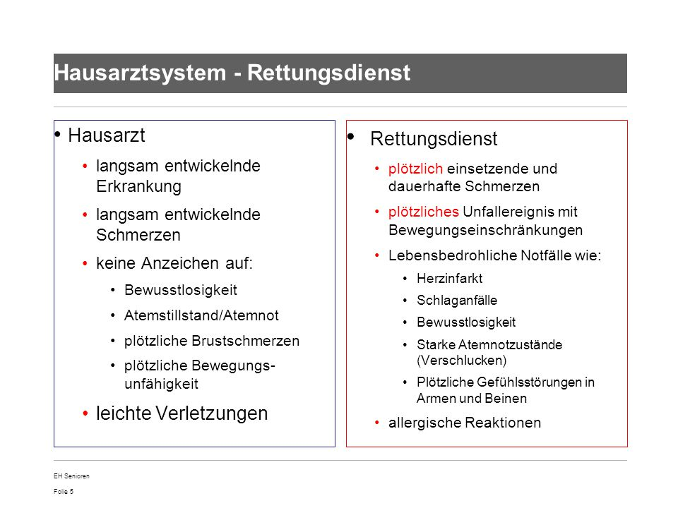 Hausarztsystem - Rettungsdienst