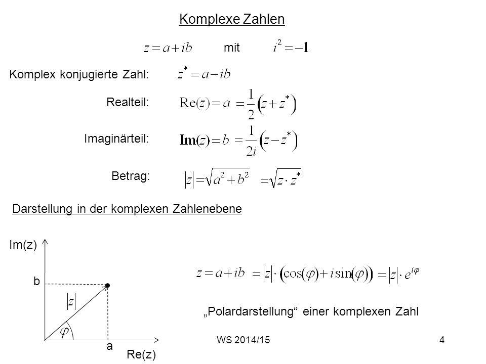 Komplexe Zahlen mit Komplex konjugierte Zahl: Realteil: Imaginärteil: