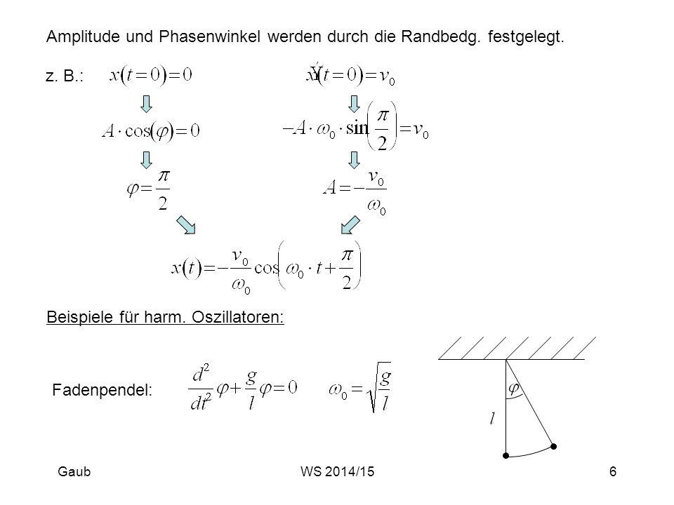 Amplitude und Phasenwinkel werden durch die Randbedg. festgelegt.