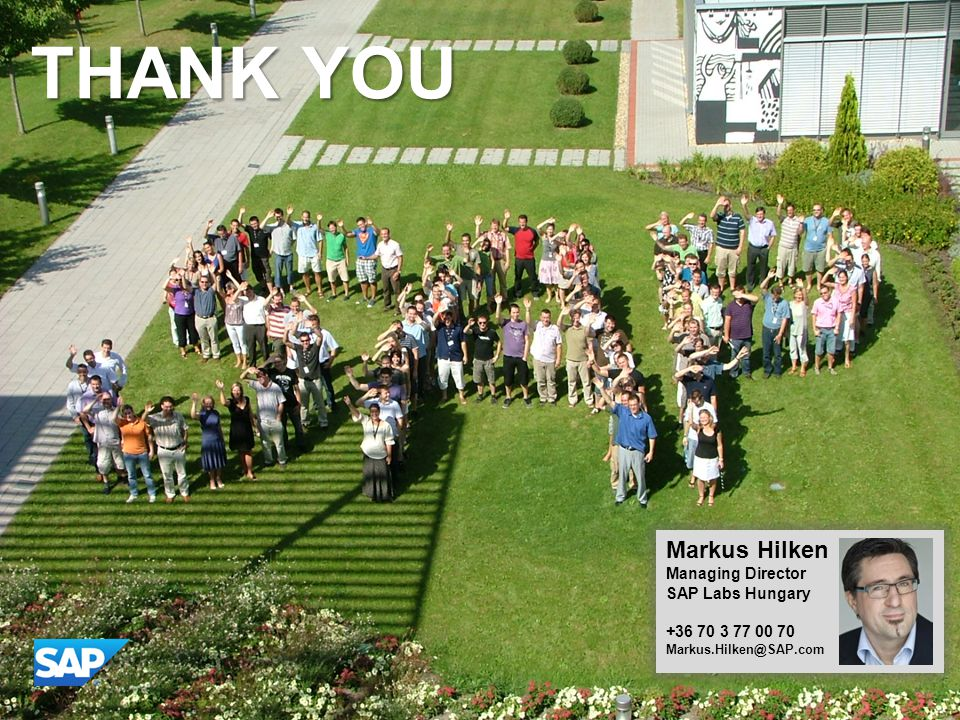 THANK YOU Markus Hilken Managing Director SAP Labs Hungary