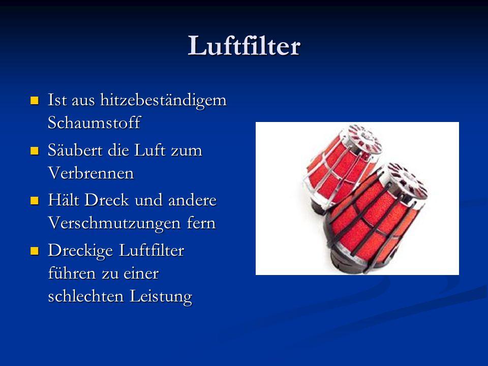 Luftfilter Ist aus hitzebeständigem Schaumstoff