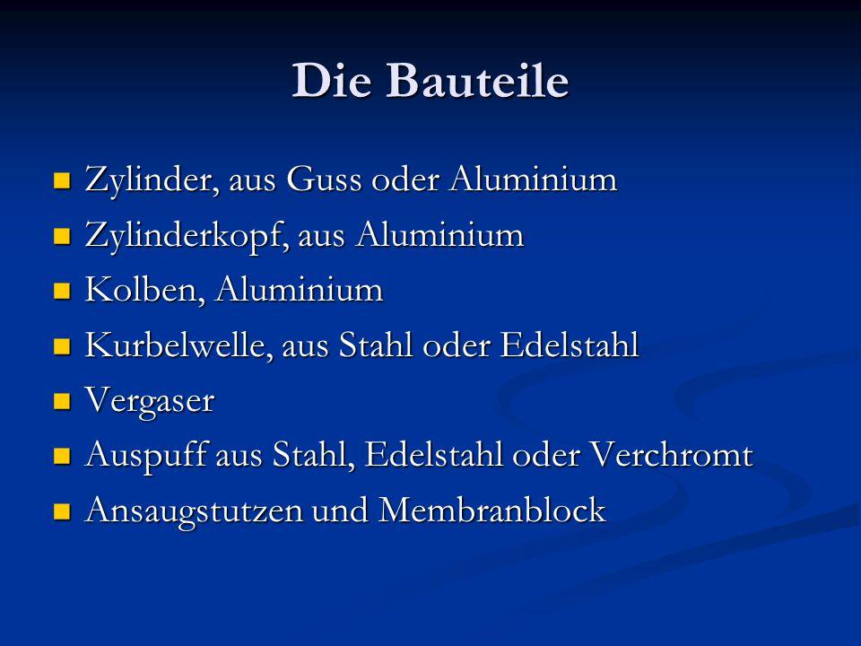 Die Bauteile Zylinder, aus Guss oder Aluminium
