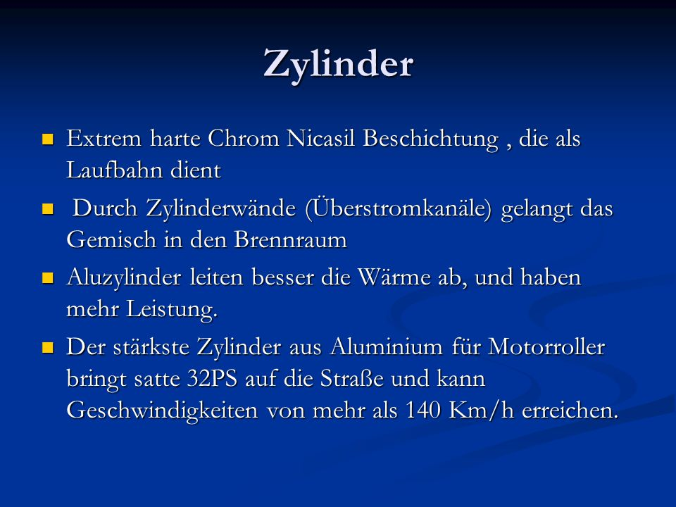 Zylinder Extrem harte Chrom Nicasil Beschichtung , die als Laufbahn dient.