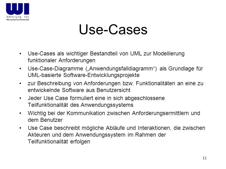 Use-Cases Use-Cases als wichtiger Bestandteil von UML zur Modellierung funktionaler Anforderungen.
