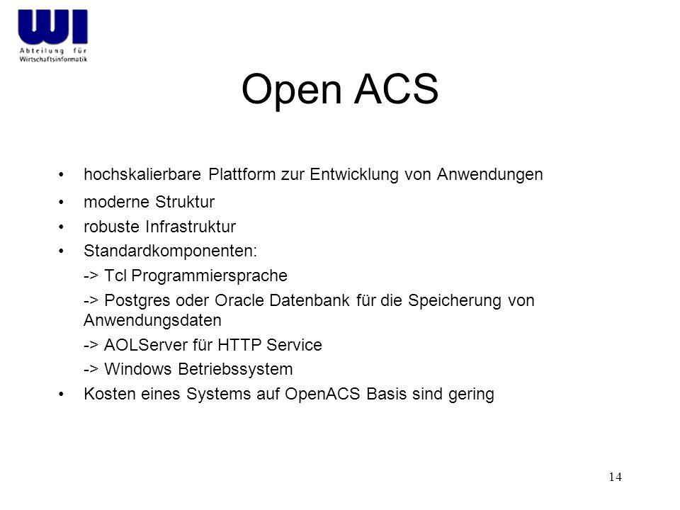 Open ACS hochskalierbare Plattform zur Entwicklung von Anwendungen
