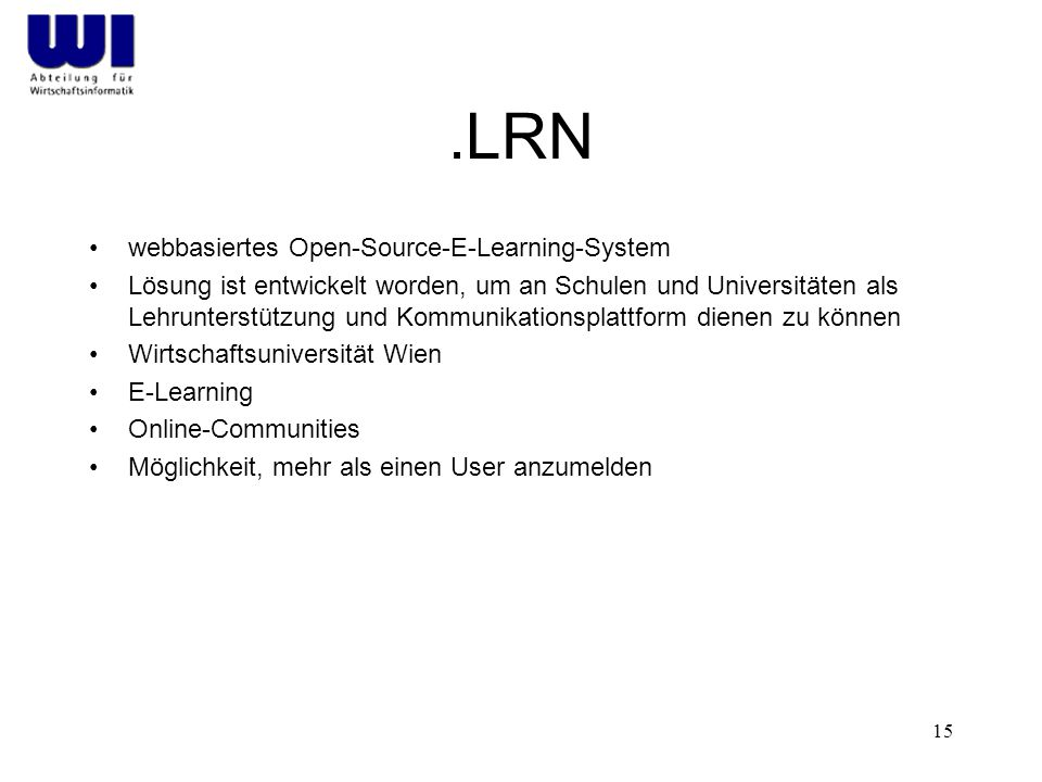 .LRN webbasiertes Open-Source-E-Learning-System