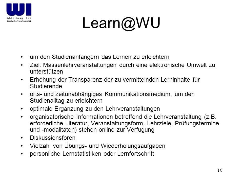 Learn@WU um den Studienanfängern das Lernen zu erleichtern