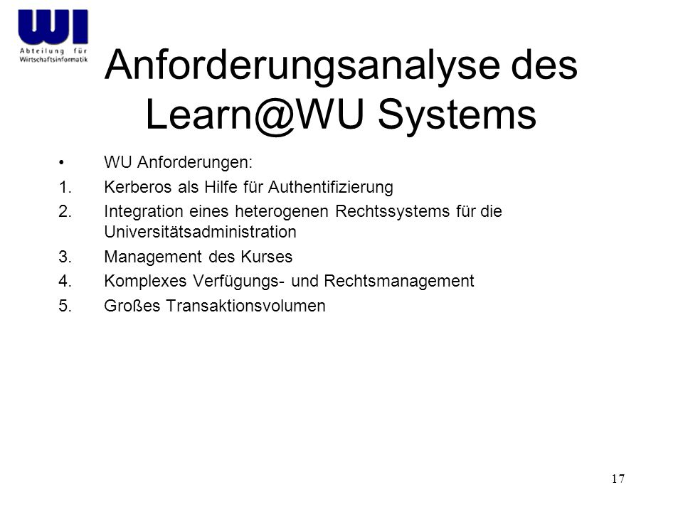 Anforderungsanalyse des Learn@WU Systems