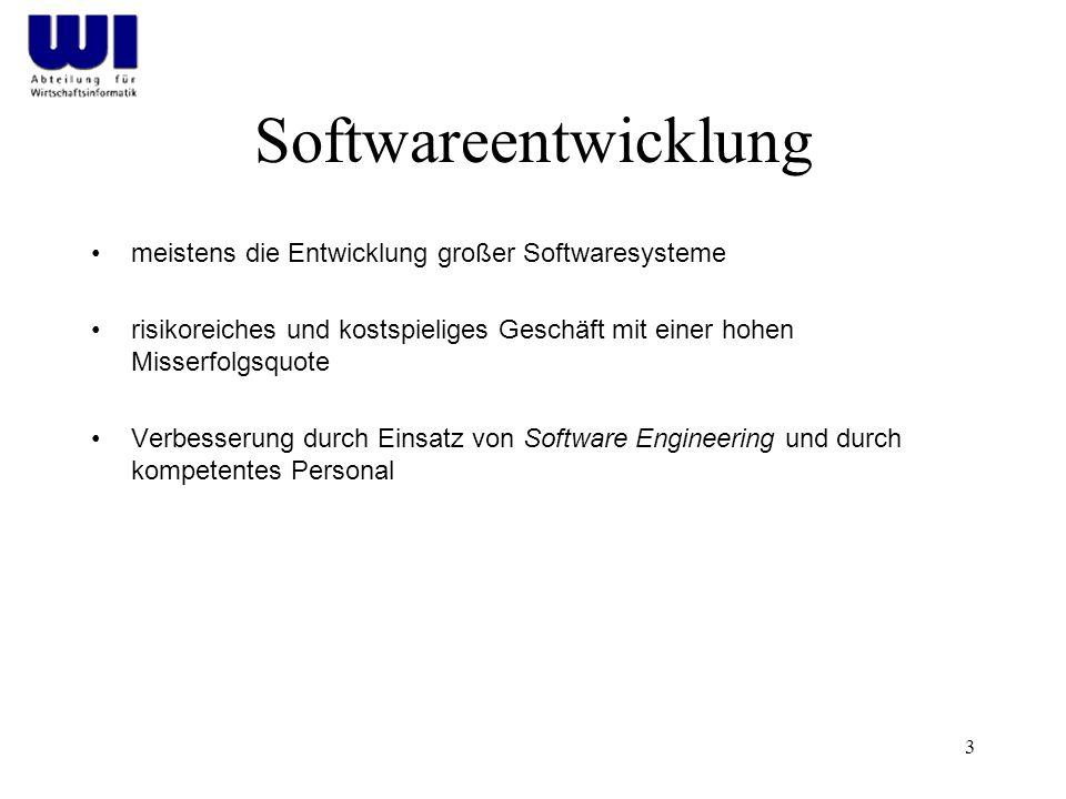 Softwareentwicklung meistens die Entwicklung großer Softwaresysteme