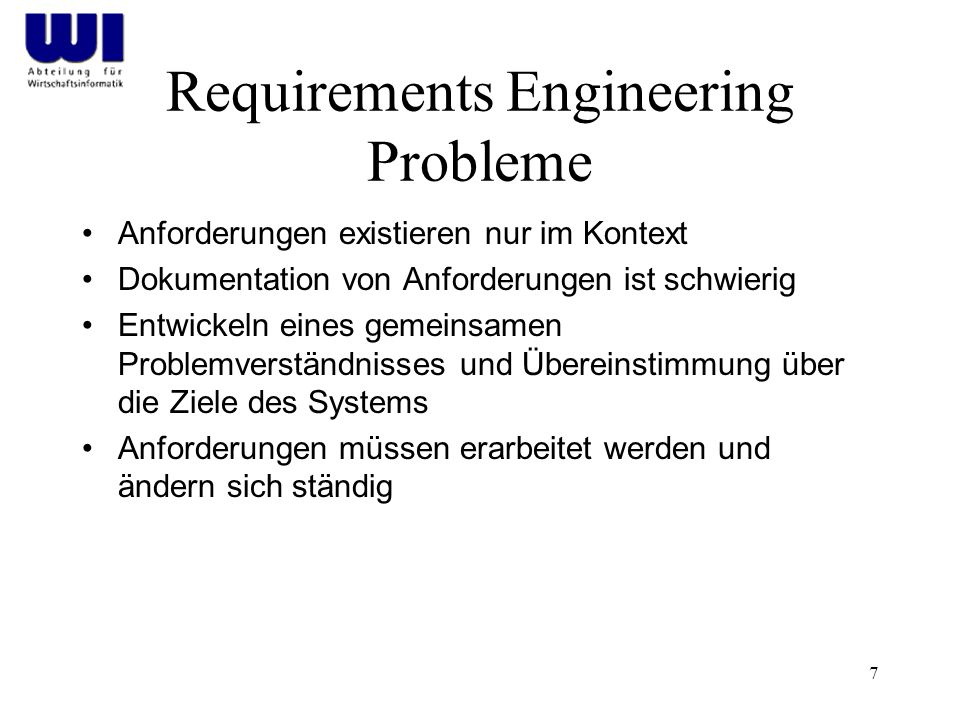 Requirements Engineering Probleme