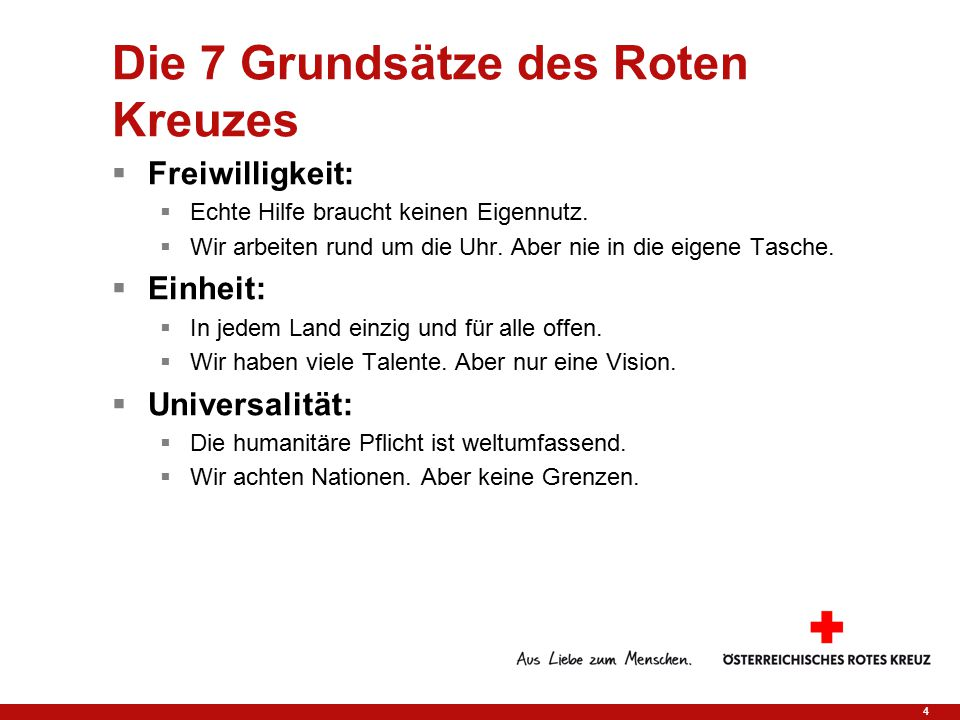 Die 7 Grundsätze des Roten Kreuzes