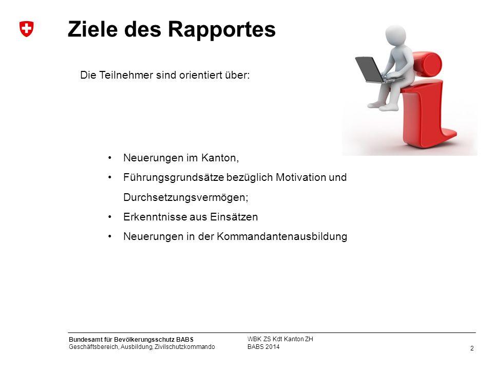 Ziele des Rapportes Die Teilnehmer sind orientiert über: