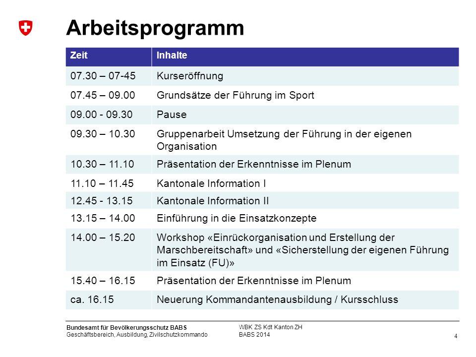 Arbeitsprogramm 07.30 – 07-45 Kurseröffnung 07.45 – 09.00