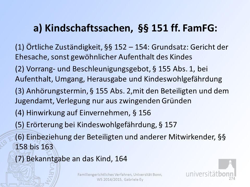 a) Kindschaftssachen, §§ 151 ff. FamFG: