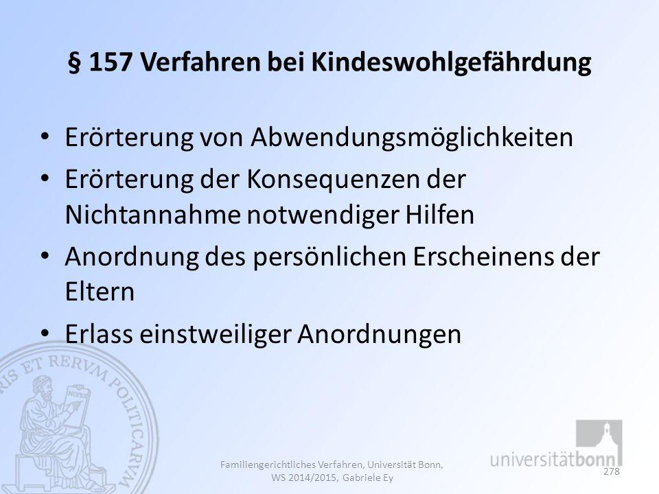 § 157 Verfahren bei Kindeswohlgefährdung