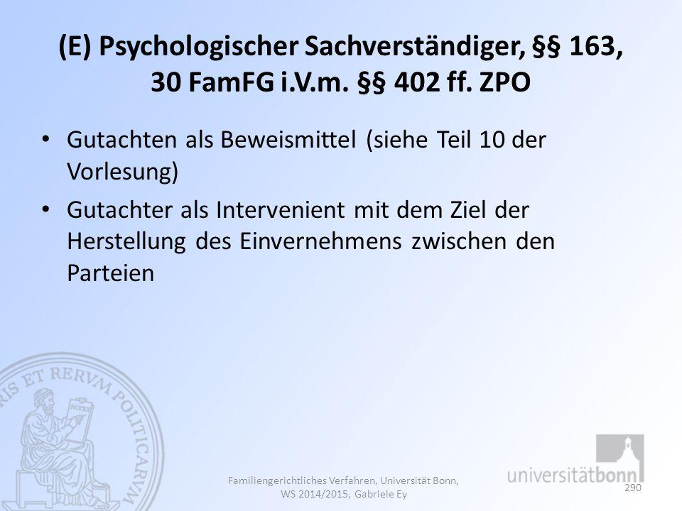 (E) Psychologischer Sachverständiger, §§ 163, 30 FamFG i. V. m