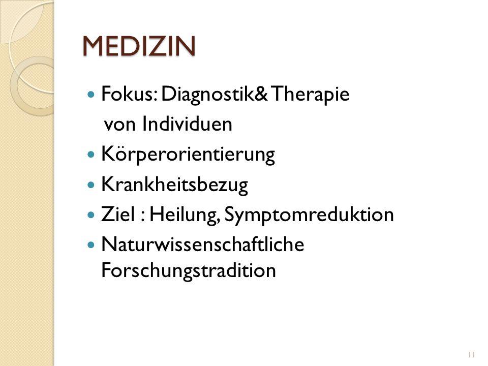 MEDIZIN Fokus: Diagnostik& Therapie von Individuen Körperorientierung