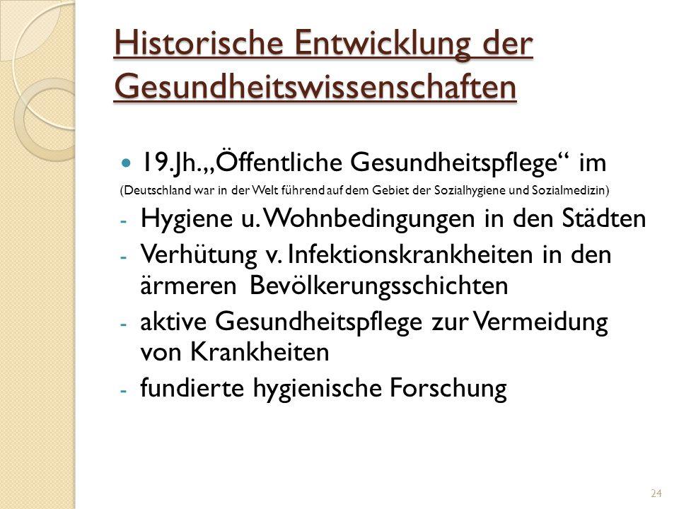Historische Entwicklung der Gesundheitswissenschaften