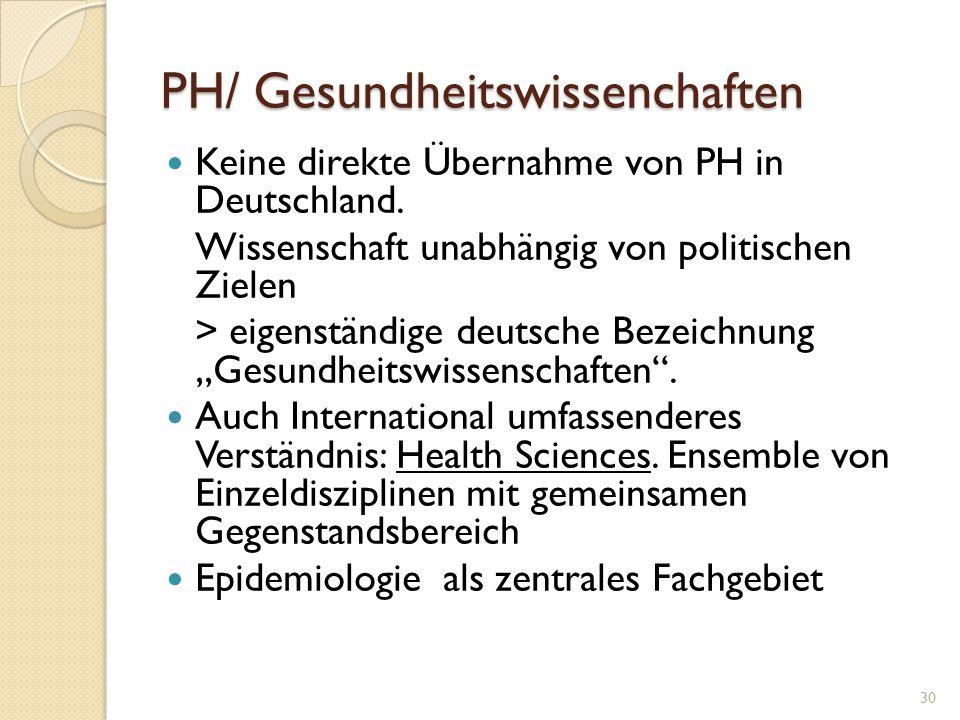 PH/ Gesundheitswissenchaften