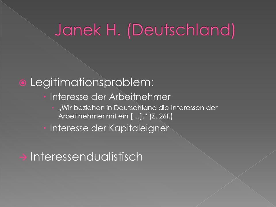Janek H. (Deutschland) Legitimationsproblem: Interessendualistisch