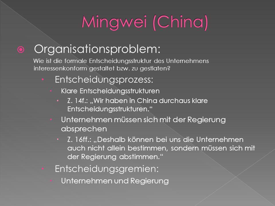 Mingwei (China) Organisationsproblem: Entscheidungsprozess: