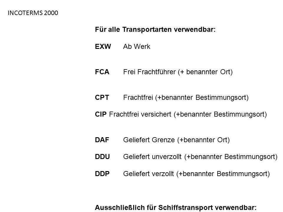 INCOTERMS 2000 Für alle Transportarten verwendbar: EXW Ab Werk. FCA Frei Frachtführer (+ benannter Ort)