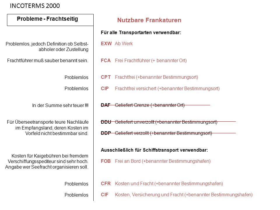 INCOTERMS 2000 Nutzbare Frankaturen Probleme - Frachtseitig