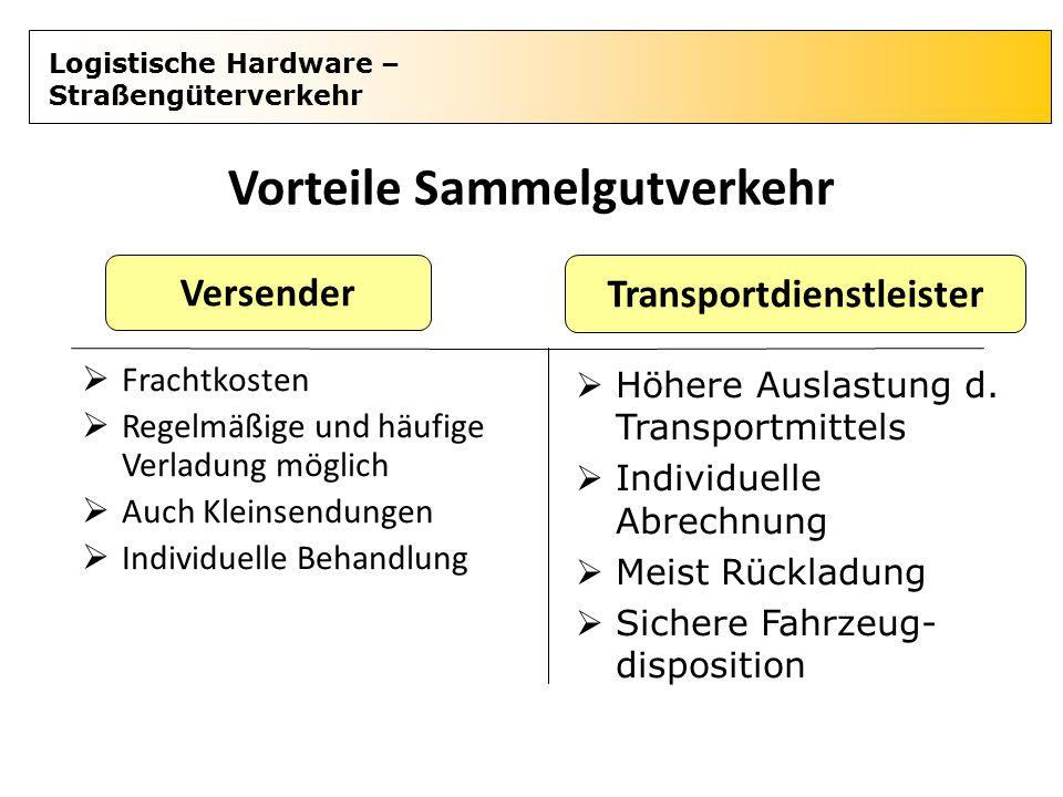 Vorteile Sammelgutverkehr Transportdienstleister