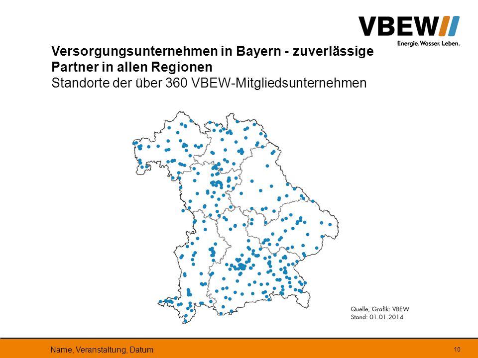Versorgungsunternehmen in Bayern - zuverlässige Partner in allen Regionen Standorte der über 360 VBEW-Mitgliedsunternehmen