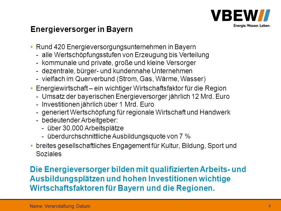 Energieversorger in Bayern