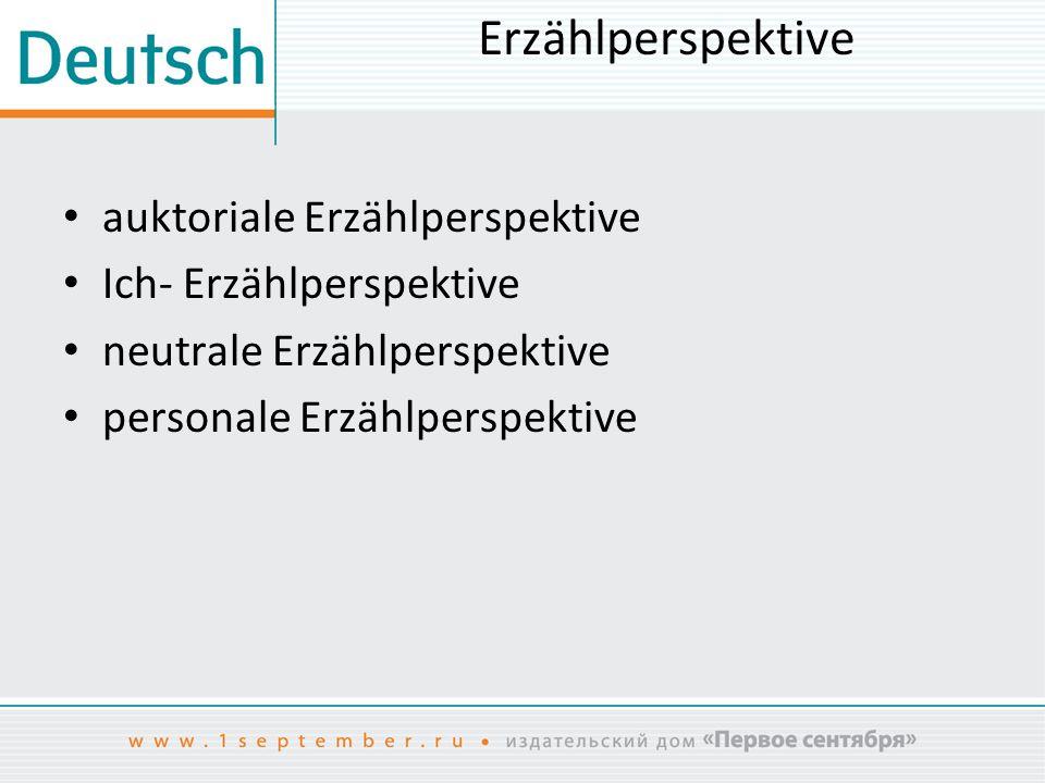 Erzählperspektive auktoriale Erzählperspektive Ich- Erzählperspektive