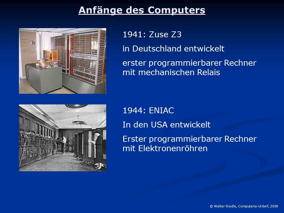 Anfänge des Computers 1941: Zuse Z3 in Deutschland entwickelt
