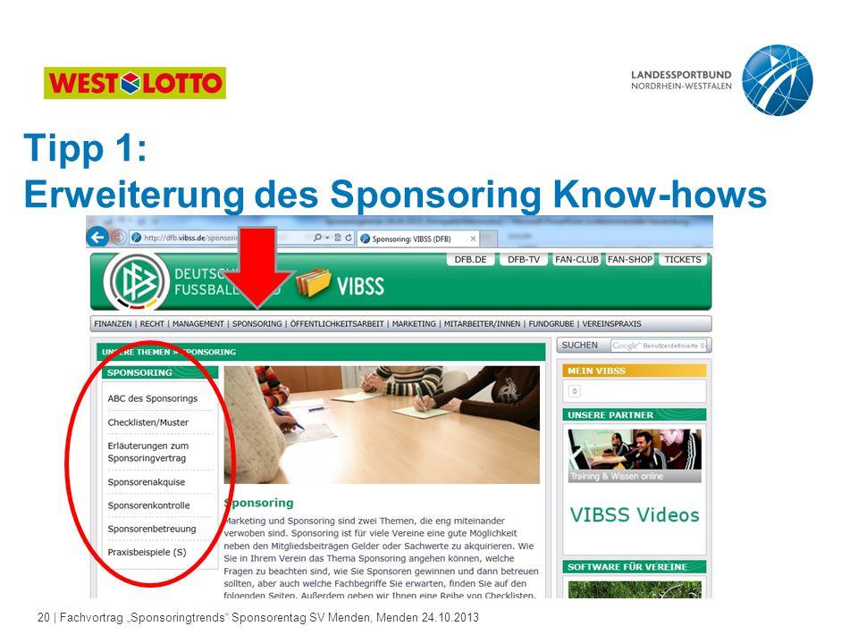 Tipp 1: Erweiterung des Sponsoring Know-hows