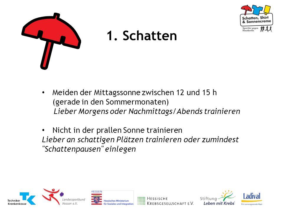 1. Schatten Meiden der Mittagssonne zwischen 12 und 15 h (gerade in den Sommermonaten) Lieber Morgens oder Nachmittags/Abends trainieren.